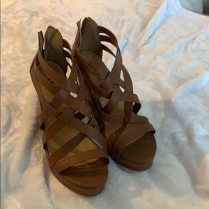 Brown Soda Strappy Wedges Size 10